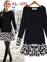Women's Floral Black Plus Size Dresses , Casual/Cute Round Long Sleeve