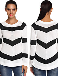 Women's Striped White Sweaters , Bodycon/Casual/Print/Party Round Long Sleeve