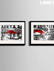 e-FOYER encadrée art de toile, une rue de ville coin impression sur toile set de 2