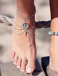 Women's Retro National Turquoise Water Droplets Hollow Chain Beach Anklet