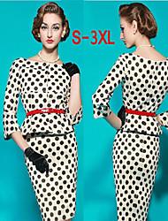 Plus Size Women's Polka Dot Pencil Dresses , Vintage / Sexy / Bodycon Party Round ½ Length Sleeve
