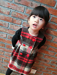 Girl's Classic Plaid Sleeveless Major Suit Double Breasted Vest Dress , Winter / Fall Long Sleeve