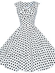 Maggie Tang Women's 50s VTG Retro Polka Dot Rockabilly Hepburn Pinup Business Swing Dress 567