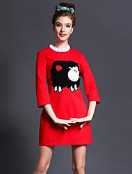 Mulheres Vestido Mini Manga ¾ Colarinho Chinês Mulheres
