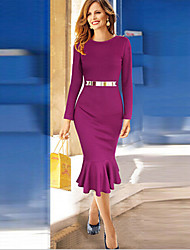 Women's Solid Purple Dress , Bodycon Round Neck Long Sleeve