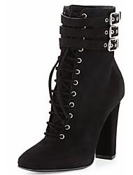 Zapatos de mujer - Tacón Robusto - Botines - Botas - Oficina y Trabajo / Vestido / Fiesta y Noche - Vellón - Negro