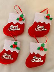 Calzini 8 centimetri di Natale per la decorazione albero di Natale Festa di Natale 24pcs (colore casuale)