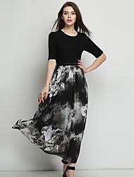 OuYa Women's Print / Patchwork Black Dresses , Casual / Print Round ½ Length Sleeve