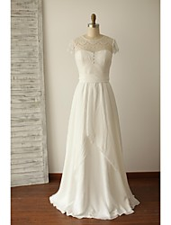 A-line Wedding Dress - Ivory Floor-length Jewel Chiffon / Lace