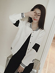 Women's Striped / Solid / Color Block White / Black Jackets , Casual / Cute / Party Round Neck Long Sleeve