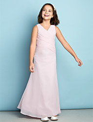 Ankle-length Chiffon Junior Bridesmaid Dress - Mini Me Sheath / Column V-neck Natural with Criss Cross