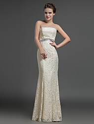 Formal Evening Dress Sheath / Column Strapless Floor-length Lace with Crystal Detailing / Sash / Ribbon