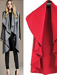 Women's Solid Color Blue / Red / Black / Gray Coats & Jackets , Casual Cowl Sleeveless