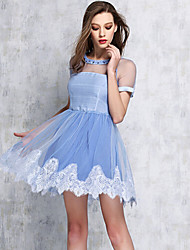 Women's Patchwork Blue Diamante High Quality Bubble Dress , Sexy / Party Round Neck Short Sleeve