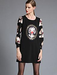 T-Shirt Da donna Floreale Rotonda Manica lunga Poliestere