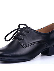 Latin Children's Dance Shoes Heels Leatherette Chunky Heel Black