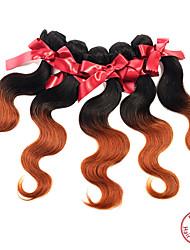 """evet um monte peça 8 """"-28"""" # 1BT # 30 malaio 7a onda do corpo não transformados ombre cabelo virgem malaio cabelo humano tecer"""