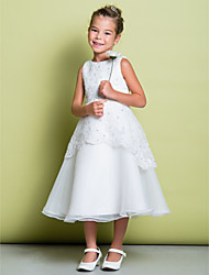 A-line Tea-length Flower Girl Dress - Lace Organza Scoop with Beading Lace