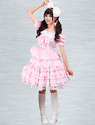 Cotton Pink Lace Sweet Lolita Dress