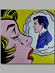 Hand-Painted Oil Painting on Canvas Home Deco Pop Art Figure Woman Man One Panel Ready to Hang