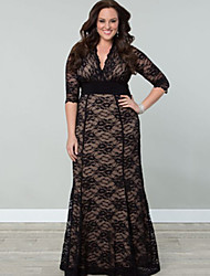 Lasan  Women's Patchwork Black Dresses , Vintage / Sexy / Lace / Party V-Neck ¾ Sleeve