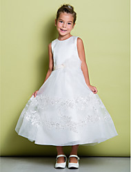 Lanting Bride A-line Ankle-length Flower Girl Dress - Lace / Satin Sleeveless Jewel with Flower(s) / Lace