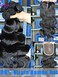 Peruvian Virgin Hair Weft Body Wave 3Pcs Human Hair Weave Bundles with 1pcs Lace Closure CARA Hair Products 6A