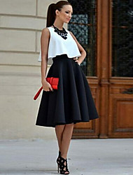 Women's Solid Black Skirts , Sexy Knee-length
