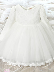 A-Line Knee Length Flower Girl Dress - Lace Tulle Long Sleeves Jewel Neck with Bow(s) by YDN