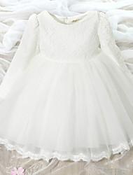 une ligne de genou longueur robe de fille fleur - dentelle tulle manches longues col de bijoux avec arc (s) selon ydn