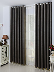 One Panel Grey Solid Linen/Polyester Blend Blackout  curtain Bamboo Fabric Curtain Colors High Quality Modern Curtain