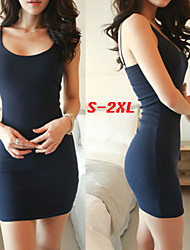 Big girl Women's Solid Color Blue / White / Black / Gray Dresses , Sexy / Bodycon Round Sleeveless
