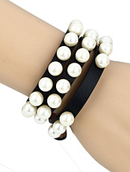 Vilam® Punk Gothic Girl Pearl Black Leather Winding Belt Bracelet Necklace Two Way Use