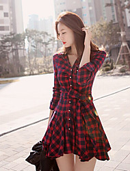 Women's Plaid Red Dress(cotton)