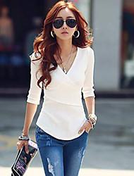 Damen Solide Einfach / Street Schick Lässig/Alltäglich T-shirt,V-Ausschnitt Herbst ½ Länge Ärmel Rot / Weiß / Schwarz / Grau Baumwolle