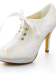 Women's Fall Winter Platform Stretch Satin Wedding Dress Stiletto Heel Platform Ribbon Tie Ivory
