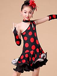 Детская одежда для танцев Инвентарь Детские Выступление / Учебный Молочное волокно Сборки / Рисунок шкуры животного / В горошек 4 предмета