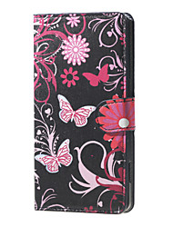 For LG Case Card Holder / Wallet / with Stand / Flip Case Full Body Case Butterfly Hard PU Leather LG