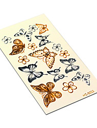Gold And Silver Butterfly Tattoo Fashion Temporary Tattoo Stickers Temporary Body Art Waterproof Tattoo Pattern HC5003
