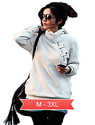 Women's Plus Size White/Black Causal Hoodies,Long Sleeve