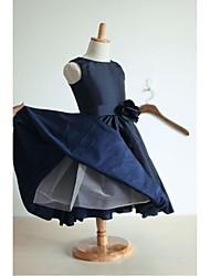 Trapèze Longueur Genou Robe de Demoiselle d'Honneur Fille - Taffetas Bateau avec