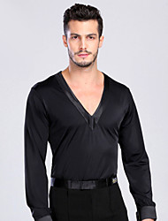 Latin Dance Tops Men's Performance / Training Spandex Buttons 1 Piece Long Sleeve Top
