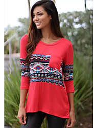DUIQI Women's Patchwork Red Tops & Blouses , Vintage / Sexy / Party / Work Round Long Sleeve