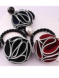 Rose And White Pearl Hair Bands South Korea Flower Rope