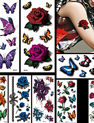 8pcs Flowers Butterflies Animals Halloween Body Art Temporary Tattoos Flash Sticker Waterproof Fashion