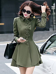 Women's Vintage Trench Coat,Solid Long Sleeve Winter Pink / Green / Yellow Others Thick