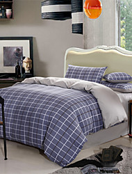 Dark Grey Plaid Design Cotton 4-Piece Bedding Set