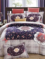 H&C 800TC Thicken 100% Cotton Sanding Fabric Duvet Cover Set 4-Piece Stripe Plaid Pattern For Autumn Winter TM021-025