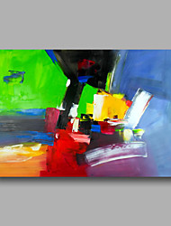 Ready to Hand Stretched Hand-Painted Abstract Modern Oil Painting Canvas Green Blue Home Deco one Panel