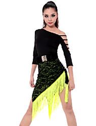 Latein-Tanz Austattungen Damen Vorstellung Viskose Polyester 2 Stück Top Rock